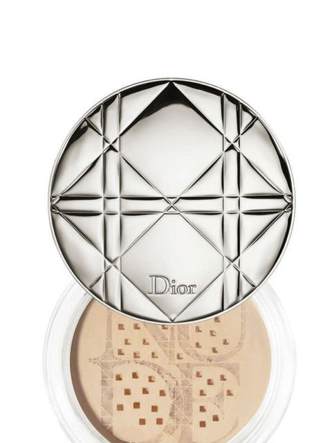 "<p>Powder your face only where you want it to be matte, so under your eyes, the top of your forehead and centre of your chin. This will leave you with a slightly dewy effect, rather than a shiny one. <a href=""http://www.dior.com"">DIOR Diorskin Nude Air Co"