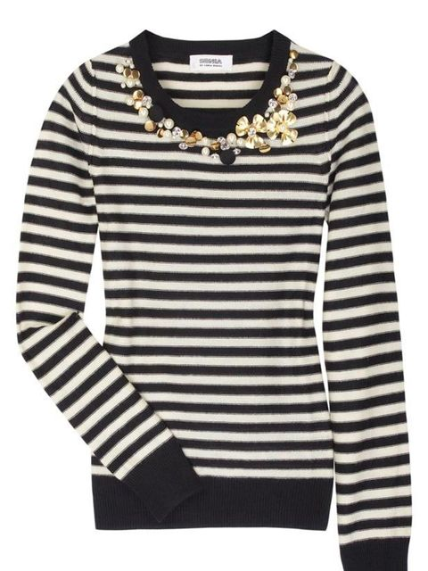 """<p>Embellished striped jumper, £260, by Sonia by Sonia Rykiel at<a href=""""http://www.netaporter.com/product/46415"""">Net-a-Porter</a></p>"""