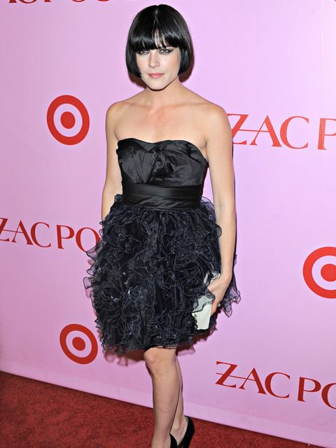 <p>Selma Blair at the Zac Posen for Target launch wearing a dress from the collection</p>