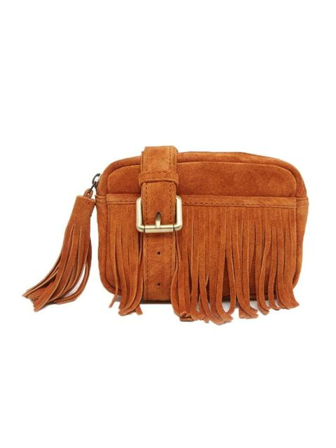 """<p>Get into the seventies spirit with a touch of fringed suede.</p>  <p><a href=""""http://www.asos.com/ASOS/ASOS-Suede-Fringed-Bum-Bag/Prod/pgeproduct.aspx?iid=4740047&cid=6992&sh=0&pge=0&pgesize=204&sort=-1&clr=Tan&totalstyles=567&gridsize=3"""" target=""""_blan"""
