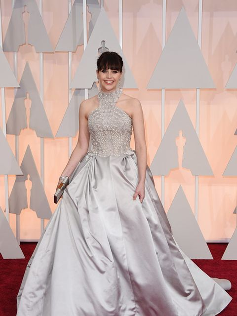 <p>Felicity Jones, in Alexander McQueen, attends the 2015 Academy Awards in LA.</p>