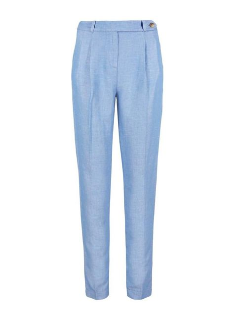 "<p>Executive Fashion & Beauty Director Kirsty Dale will tuck a silk shirt into these tailored trousers.</p>  <p><a href=""http://www.marksandspencer.com/buttonsafe-linen-blend-tapered-leg-trousers/p/p22375525#"" target=""_blank"">Marks & Spencer</a> trousers,"