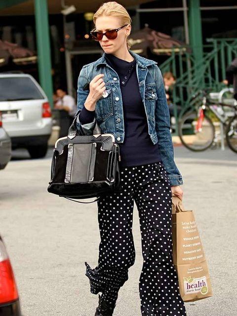"<p><a href=""http://www.elleuk.com/Search-Results?cx=007674681116717002309%3Asbbxt5zeani&amp&#x3B;cof=FORID%3A11&amp&#x3B;ie=UTF-8&amp&#x3B;q=january+jones"">January Jones</a> styling her denim jacket with on-trend <a href=""http://www.elleuk.com/fashion/6-of-the-best/polk"