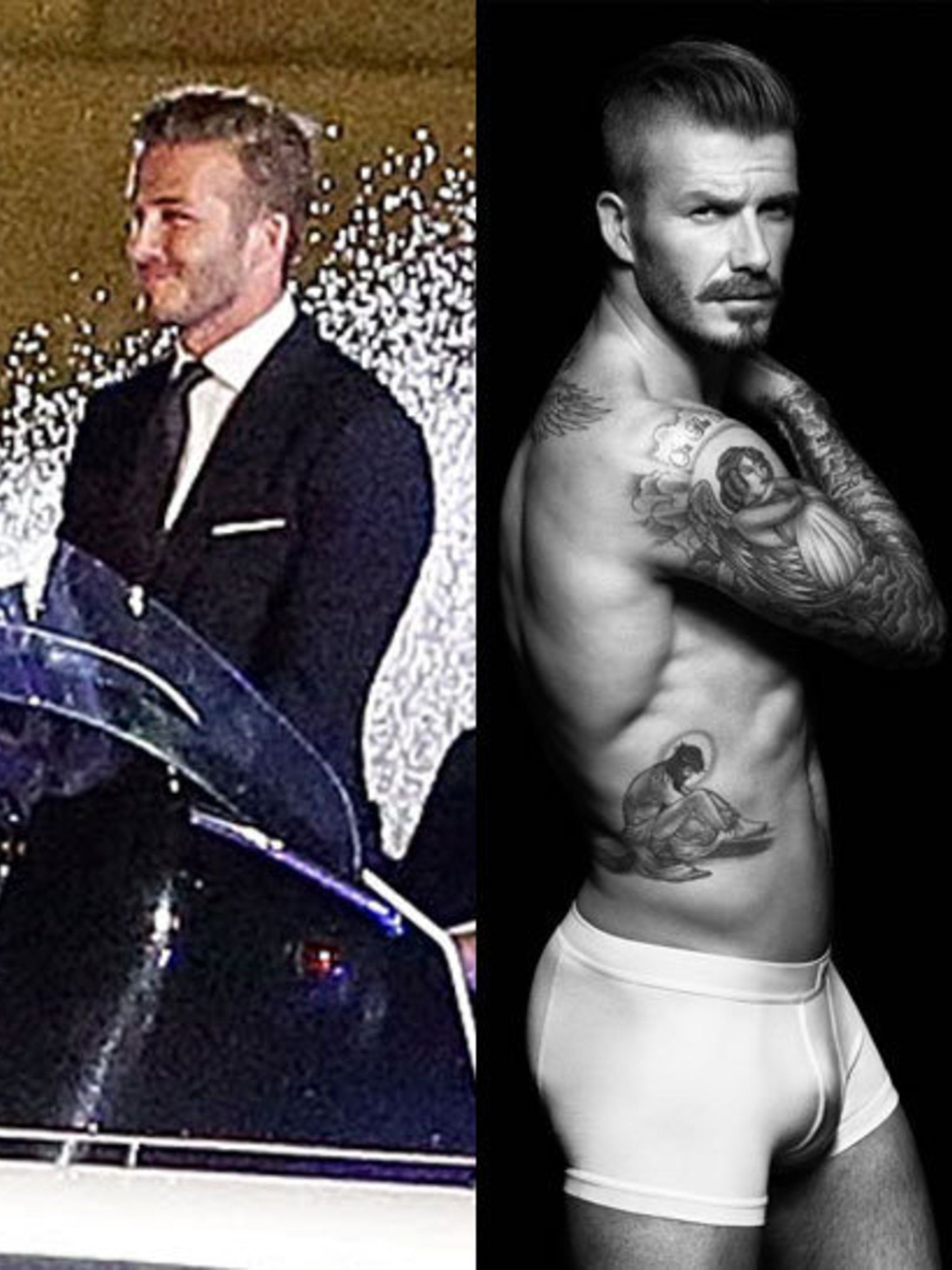 <p>David Beckham on the way to the Opening Ceremony and in his new H&M bodywear campaign</p>