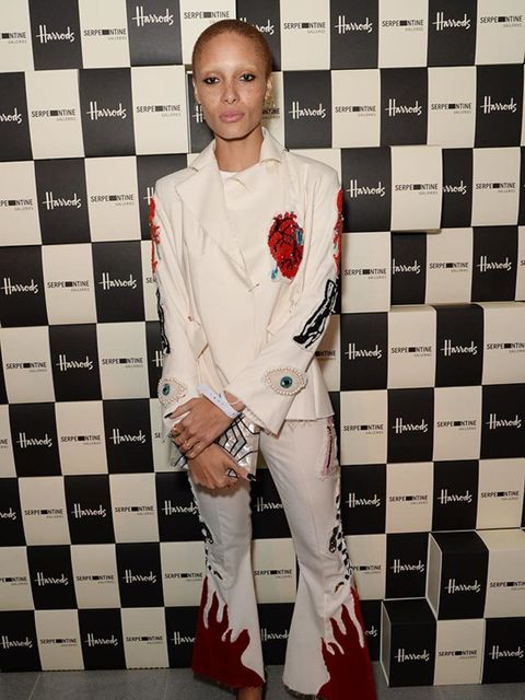 Adwoa Aboah attends the Serpentine Gallery and Harrods Future Contemporaries during London Fashion Week AW16