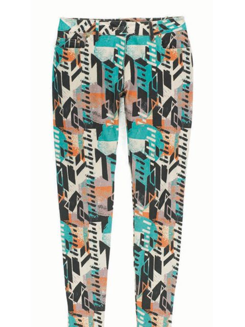 <p>Multi-coloured print trousers, £100, by Poltock and Walsh </p>