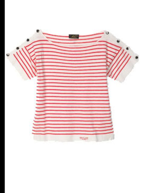 "<p>Red breton top, £110, by Le Mont St Michel at<a href=""http://www.urbanoutfitters.co.uk/Womens-Tops/Le-Mont-St-Michel-Stripe-Shoulder-Knit/invt/5114427953506""> Urban Outfitters</a></p>"