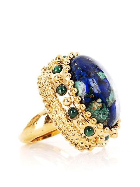 """<p>Gemstone cocktail ring, £88, by Kara by Kara Ross at <a href=""""http://www.matchesfashion.com/fcp/product/Matches-Fashion/Jewellery/kara-by-kara-ross-KAR-X-KBCR20-SO3-jewellery-GREEN/27772"""">Matches</a> </p>"""