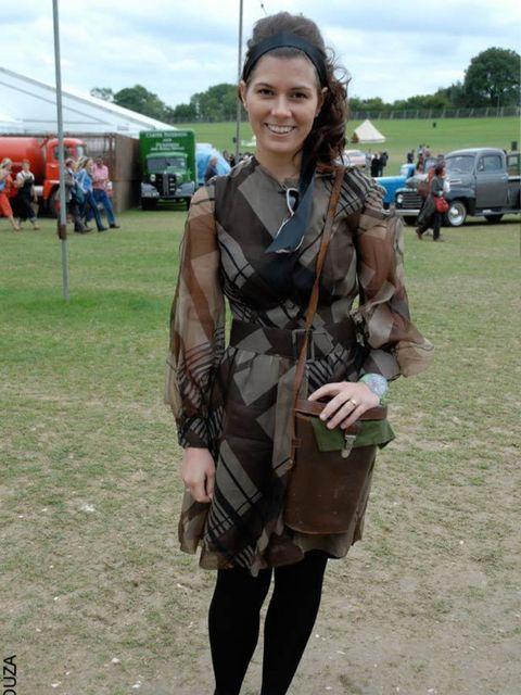 <p>Rebecca, 23, Store Manager. Vintage dress, Dune shoes, vintage binoculars case.</p>