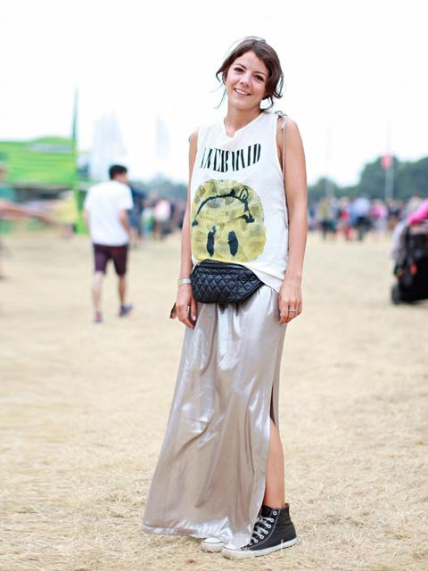 <p>Clare Drummond in Topshop dress and bumbag, All Saints t-shirt and Converse.</p>