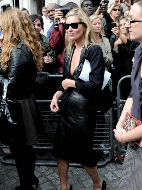 "<p><a href=""http://www.elleuk.com/starstyle/style-files/%28section%29/Kate-Moss"">Kate Moss</a> wearing a leather skirt during <a href=""http://www.elleuk.com/fashion/street-style/%28section%29/the-way-you-wear-it-london-fashion-week/%28img%29/499953"">Londo"