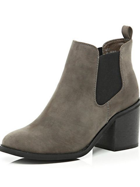 """<p>Dark brown Chelsea boot, £38 at <a href=""""http://www.riverisland.com/women/shoes--boots/ankle-boots/Dark-brown-block-heel-Chelsea-boots-655359"""">River Island</a>.</p>"""