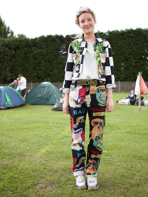 <p>Amy Sorrs, 20, Visual Merchandiser at Alexander McQueen. Versace jacket, vintage top, Moschino jeans and belt, Nike shoes.</p><p>Photo by Laura McCluskey</p>