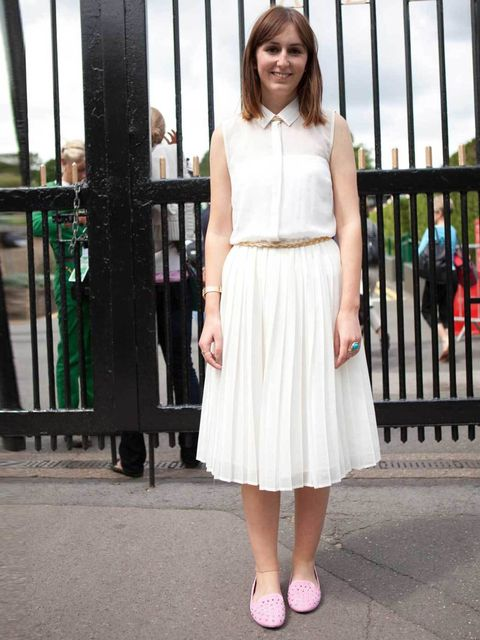 <p>Marie Morgan, 22, PR Executive. Topshop dress and shoes, New Look belt, Yves Saint Lauren ring.</p><p>Photo by Laura McCluskey</p>
