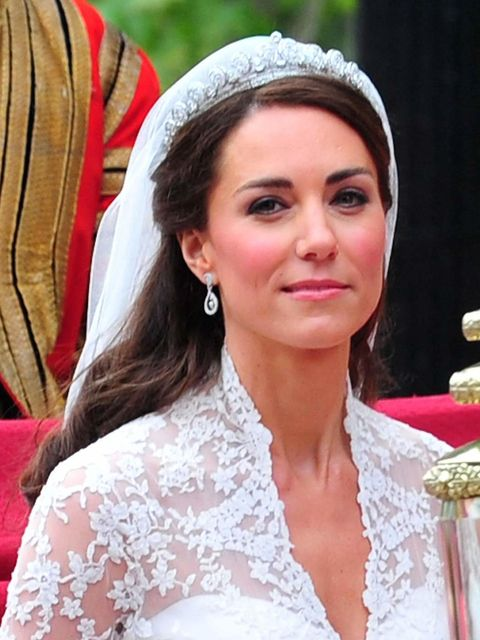 "<p><a href=""http://www.elleuk.com/star-style/celebrity-style-files/kate-middleton"">Kate Middleton</a> wearing a diamond tiara and earrings on her <a href=""http://www.elleuk.com/star-style/celebrity-fashion-trends/the-royal-wedding"">royal wedding day</a>,"