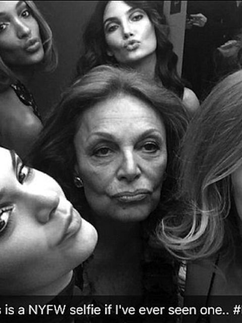 Diane von Furstenberg takes on that Oscars selfie with her very own model pack backstage at her show