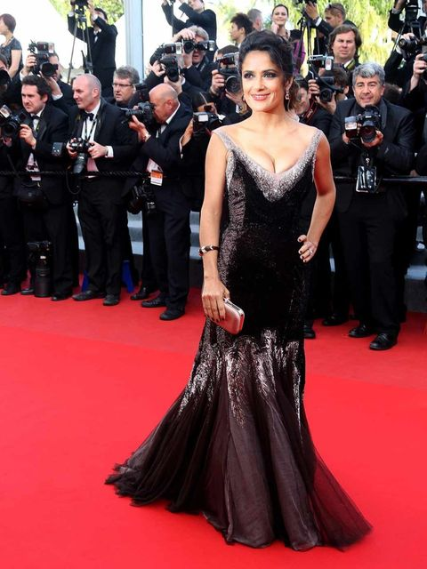 d1ec70ed5bc <p>Salma Hayek wears a fishtail Gucci gown with Alexander McQueen clutch on  the