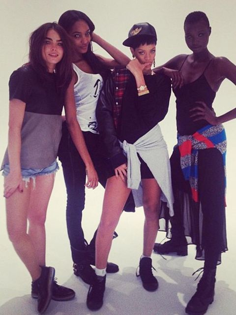 <p>Rihanna with models on the River Island campaign shoot.</p>