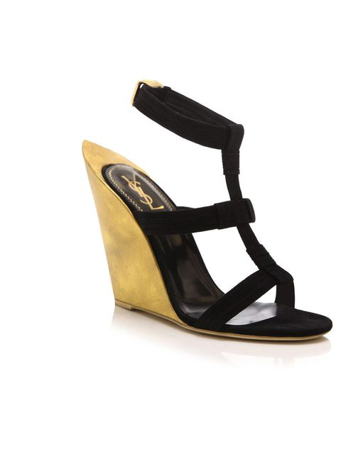"<p>Yves Saint Laurent 'Totem' wedges, £312 (was £780), at <a href=""http://www.matchesfashion.com/product/111642"">Matches Fashion</a></p>"