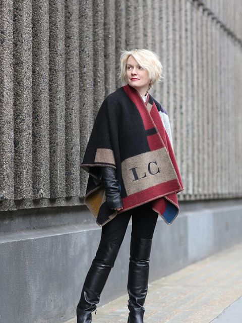 <p>Day 5:</p>  <p>Lorraine Candy - Editor-in-Chief</p>  <p>Burberry blanket, Rick Owens leather jacket, Carven shirt and Prada boots.</p>