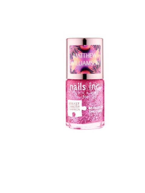"""<p><a href=""""http://www.nailsinc.com/spotthepinkie"""">Nails Inc Limited Edition Pink Glitter Polish by Matthew Williamson and Poppy Delevingne</a>, £11, with £1 from each sale going to <a href=""""http://www.breastcancercampaign.org"""">Breast Cancer Campaign</a><"""