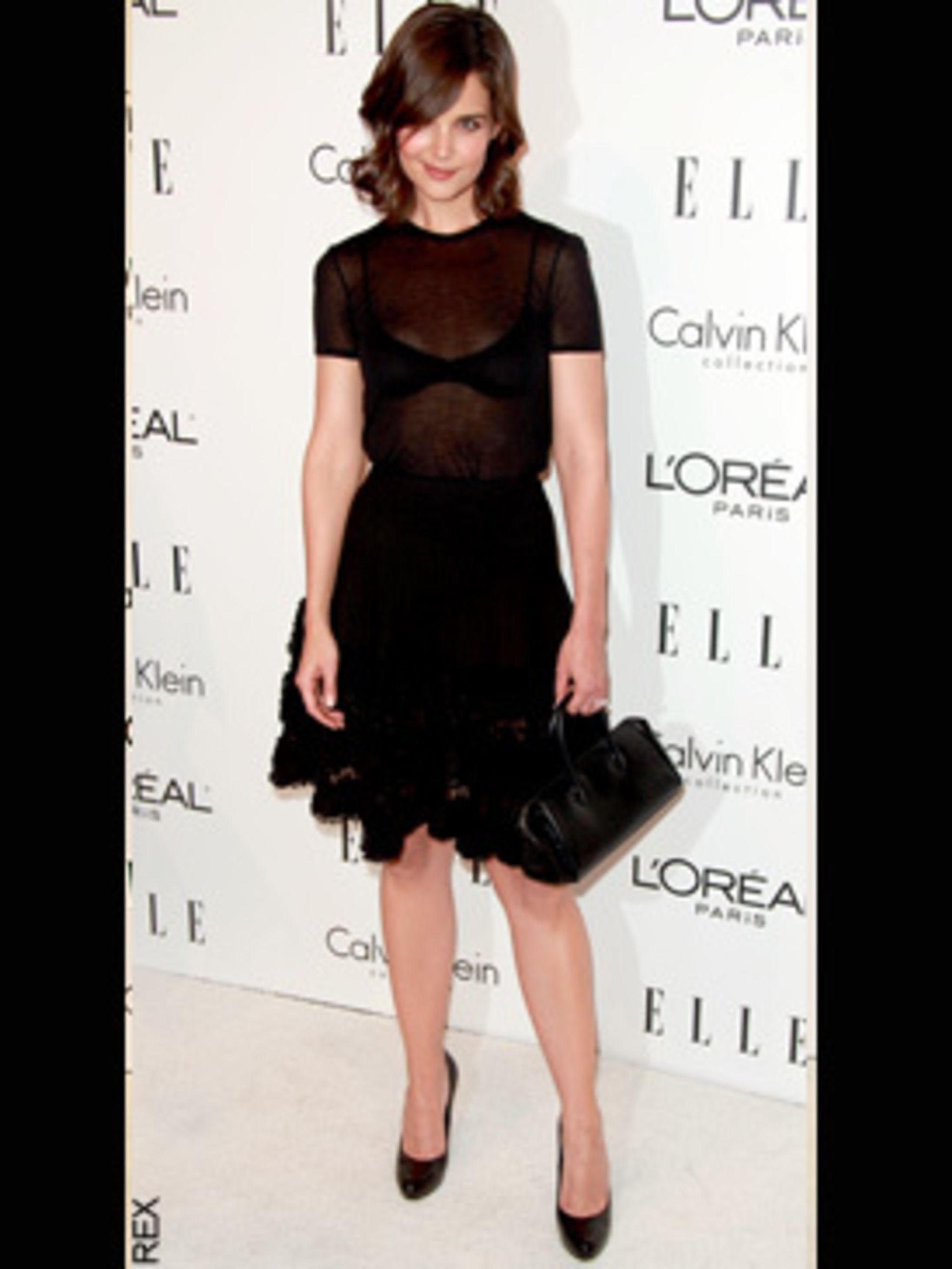 <p>Katie Holmes wearing Azzedine Alaia at the 16th Annual ELLE Women in Hollywood event</p>