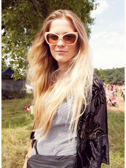 Stella Rozenbroek-Vinken wears Prada bag, vintage dress and kimono, Obsidian necklace from Camden Lock market, star necklace from Reminiscence, Topshop sunglasses.