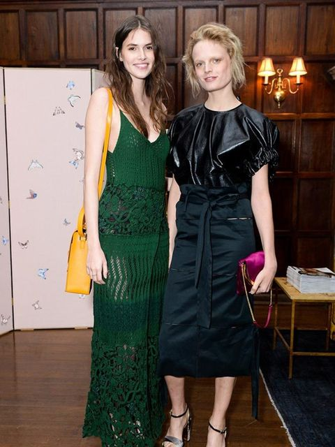Vanessa Moody and Hanne Gaby Odiele at a Salvatore Ferragamo event to mark the launch of the Sara Battaglia for Salvatore Ferragamo handbag capsule collection in New York, April 2016.