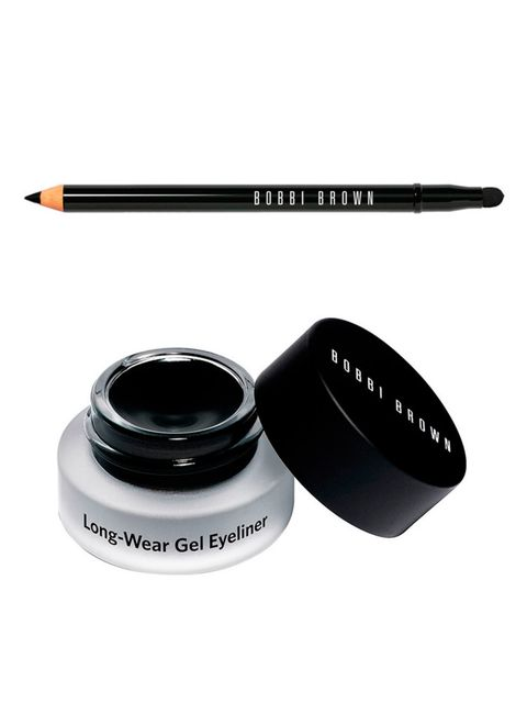 Apply a slick of gel liner along the upper lashline and subtly wing up and out. Use a kohl pencil to smudge under the lower lashes to soften the look.  Bobbi Brown Long-Wear Gel Eyeliner, £18 / Bobbi Brown Smokey Eye Kajal Liner, £18