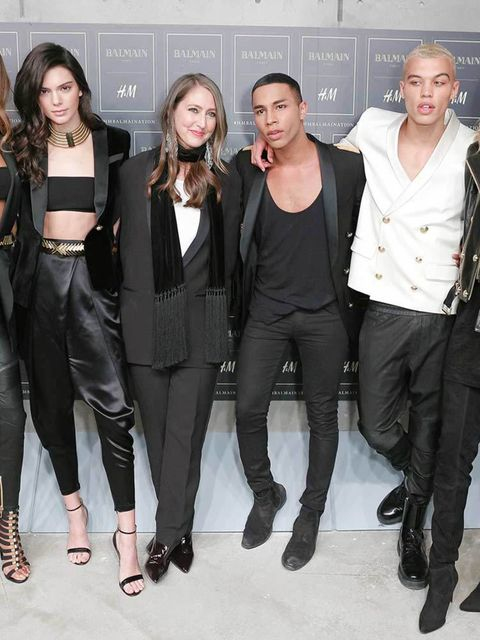 Jourdan Dunn, Kendall Jenner, Ann Sofie Johansson, Olivier Rousteing, Dudley O'Shaughnessy and Gigi Hadid backstage at the H&M x Balmain show in New york, October 2015.