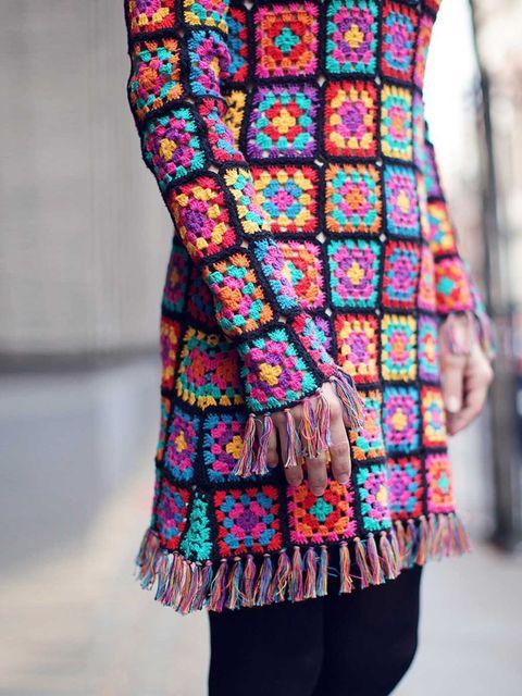 <p>Christina wears a crochet knit dress, £290</p>