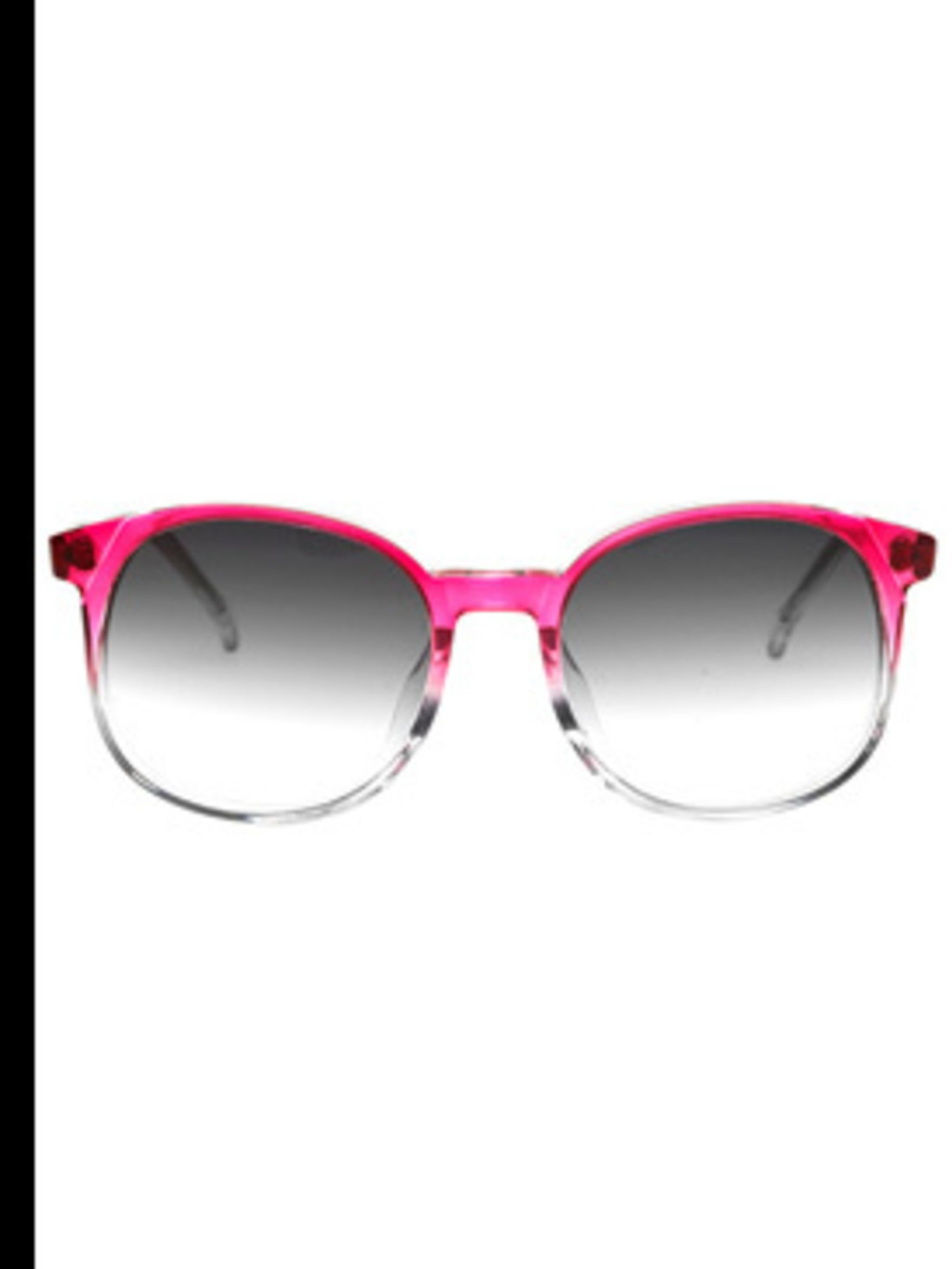<p>Pink sunglasses, £176, by Matthew Williamson. For stockists call 0207 629 6200</p>