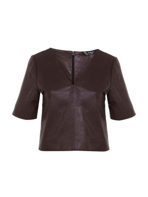 """<p>Associate Health & Beauty Editor Amy Lawrenson couldn't resist this little leather tee - perfect for autumn layering.</p>  <p></p>  <p><a href=""""http://www.missselfridge.com/en/msuk/product/new-in-299046/clothing-299139/burgundy-v-neck-leather-tee-3255"""