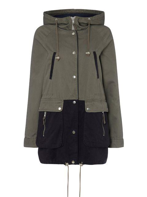 "<p><a href=""http://www.warehouse.co.uk/hooded-colour-block-parka/jackets-&-coats/warehouse/fcp-product/4212992499"">Warehouse</a> Parka, £75.</p>"
