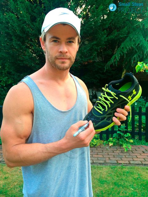 "<p>Thor star <a href=""http://www.smallstepsproject.org/portfolio/chris-hemsworth/"">Chris Hemsworth</a> with his signed trainers.</p>"