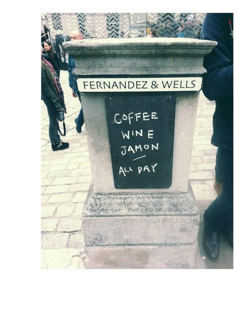 <p>And back this morning at Somerset House for Simone Rocha.</p><p>I quite liked the Fernandez &amp&#x3B; wells sign. The first thought I had  was that all together this is the perfect breakfast cocktail to get me through fashion week.</p>
