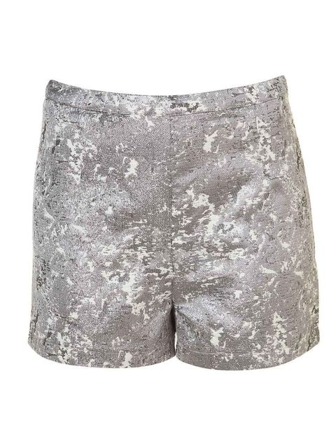 "<p><a href=""http://www.elleuk.com/elle-tv/catwalk/unique-spring-summer-2013"">Topshop</a> silver metallic jacquard shorts £30 Available at <a href=""http://www.topshop.com/webapp/wcs/stores/servlet/ProductDisplay?beginIndex=1&amp;viewAllFlag=&amp;catalogId="