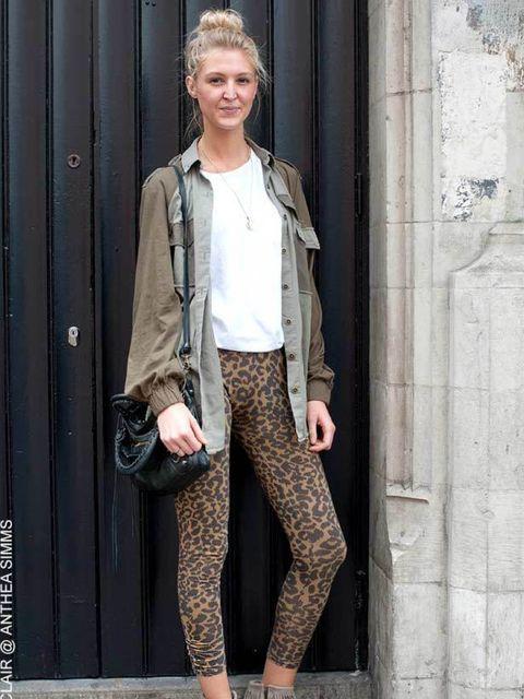 """<p>Rebecca, 23, Buyer. Current Elliott shirt, Topshop t-shirt and leggings, All saints boots, <a href=""""http://www.elleuk.com/catwalk/collections/balenciaga"""">Balenciaga</a> bag. </p>"""