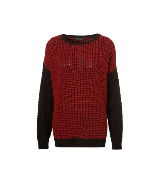 "<p>It's all about textured, graphic knits this season. All the better for clashing with winter's checks and tartans, you see… Topshop red and black jumper, £36</p><p><a href=""http://shopping.elleuk.com/browse?fts=topshop+grunge+jumper+"">BUY NOW</a></p>"