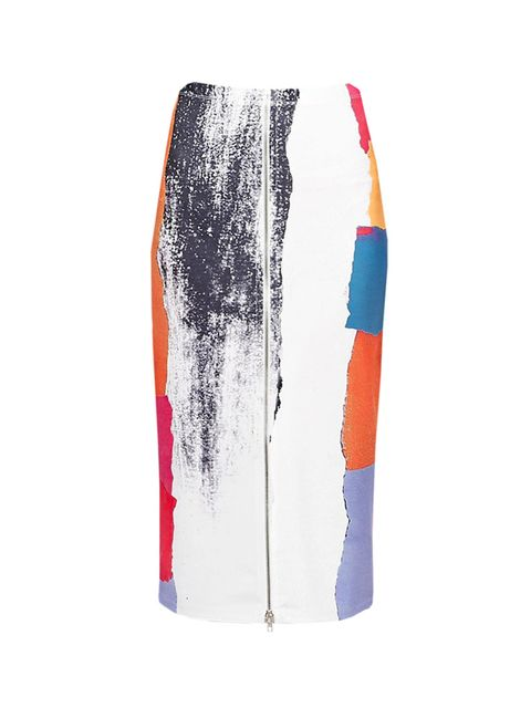 "<p><a href=""http://www.asos.com/ASOS/ASOS-Abstract-Brush-Stroke-Zip-Front-Neoprene-Pencil-Skirt/Prod/pgeproduct.aspx?iid=5356871&cid=2639&sh=0&pge=0&pgesize=36&sort=-1&clr=Multi&totalstyles=738&gridsize=3"" target=""_blank"">ASOS</a> skirt, £35</p>"