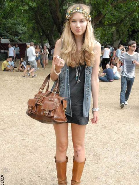 <p>Rhiannon, 23, Shop Assistant. Oasis waistcoat, Mulberry bag, LK Bennett boots, vintage slip.  </p>