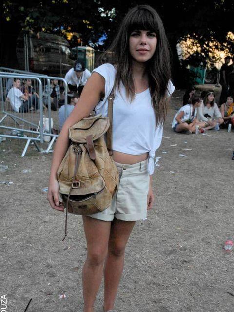 <p>Nicola Atkins, 24, Student. Vintage t-shirt, shorts and bag, Vans shoes.</p>