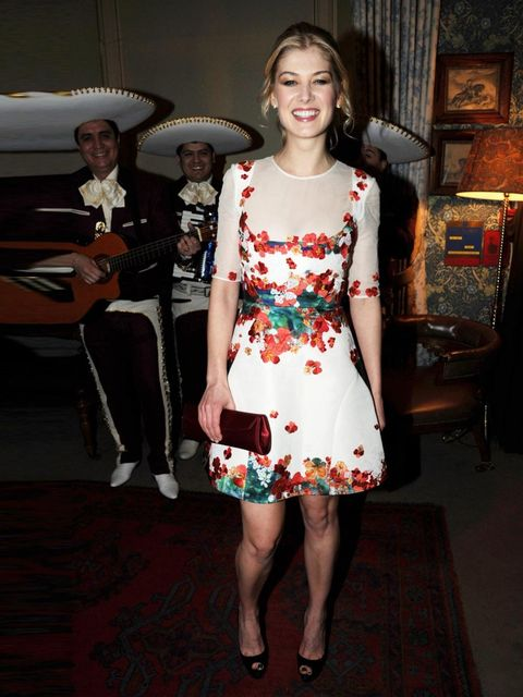 "<p>Rosamund Pike attends a pre-Bafta party wearing <a href=""http://www.elleuk.com/catwalk/designer-a-z/erdem/spring-summer-2013"">Erdem</a>, February 2011.</p>"