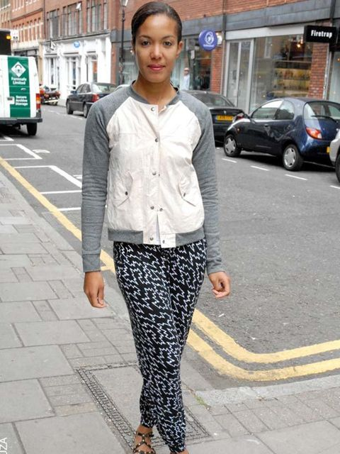 <p>Uju, 32, Personal Trainer. Jacket and trousers Urban Outfitters, Topshop shoes.</p>