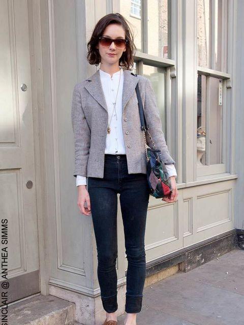 <p>Rachel, 22, Waitress. Vintage jacket, blouse from Deptford Market, Nudie jeans, Office shoes, vintage sunglasses and bag.</p>