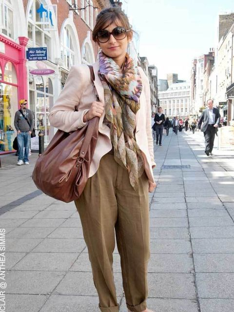 <p>Teona, 22, Mens Tailor. Zara jacket, trousers, belt and bag, H&M top, Topshop shoes, Gucci sunglasses. </p>