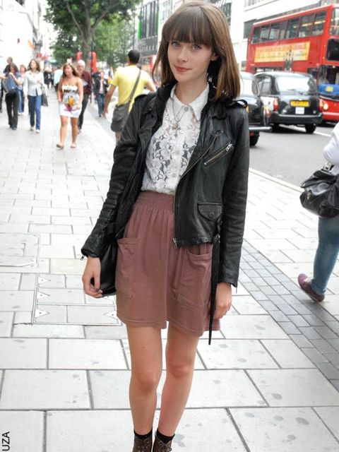 <p>Claire, 18, Student. Religion jacket, vintage top, American Apparel skirt, vintage boots. </p>