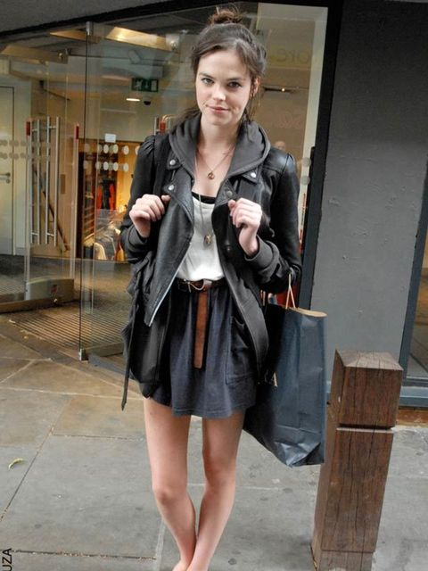 <p>Jade, 22, Model. Topshop jacket, French Connection top, American Apparel skirt, vintage shoes and belt, customised necklace. </p>