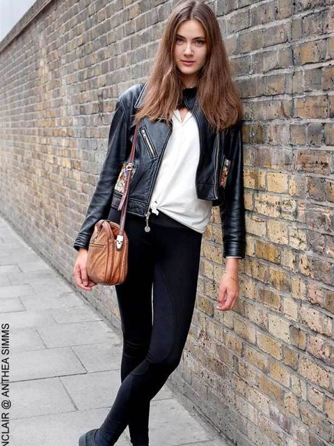 <p>Simona, 21, Model. Kenzo vintage jacket, Zara leggings, vintage blouse, shoes and bag. </p>