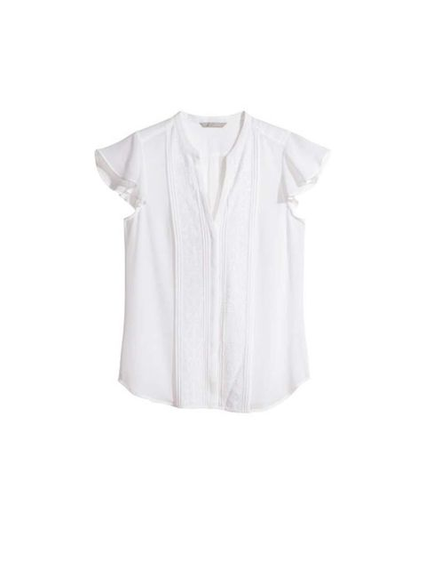 """<p>Add white cotton blouse like this one from <a href=""""http://www.hm.com/gb/product/25891?article=25891-C"""">H&M</a>, £14.99</p>"""